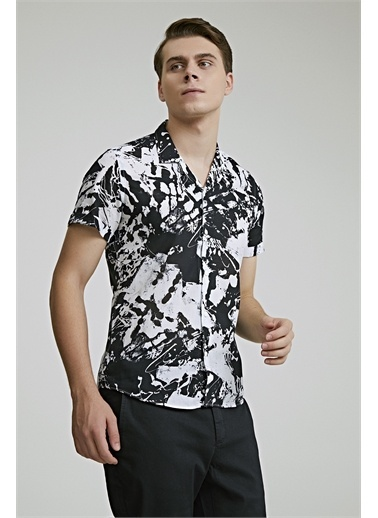 TWN Slim Fit Baskılı Vual Gömlek Siyah